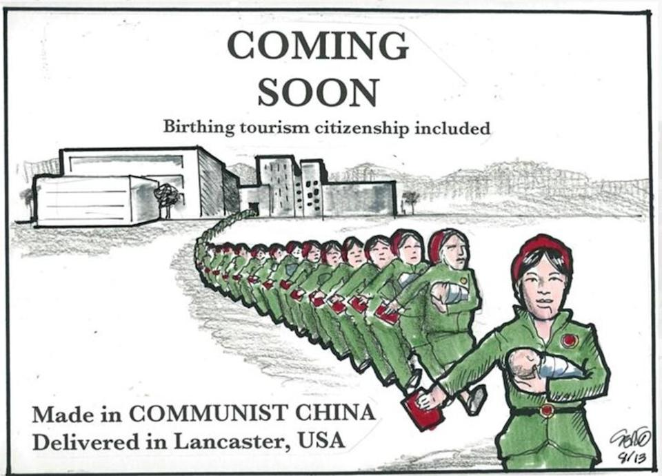 "A 2013 cartoon in a local newspaper lampooned the mayor's ""birth tourism"" proposal. Illustration: Sergio Hernandez/Antelope Valley Times"