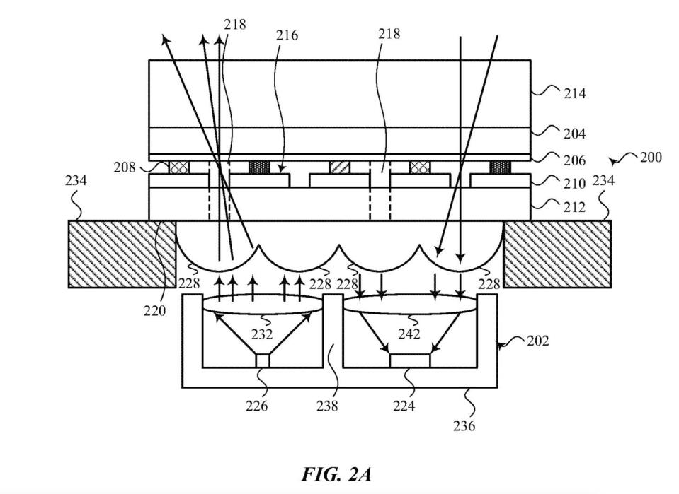 The translucent apertures (218) will allow light to pass through the display to and from the under-screen sensors. - Credit: Apple Inc. via USPTO