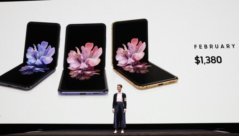 Rebecca Hirst, Samsung marketing director, unveils the Samsung's Galaxy Z Flip folding smartphone in San Francisco