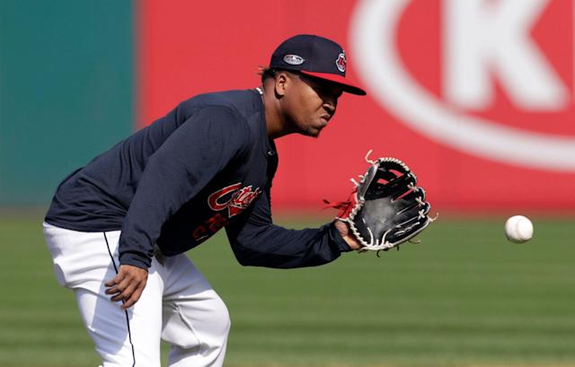 Indians infielder Jose Ramirez was injured after fouling a pitch off his own knee. (AP Photo/Tony Dejak)