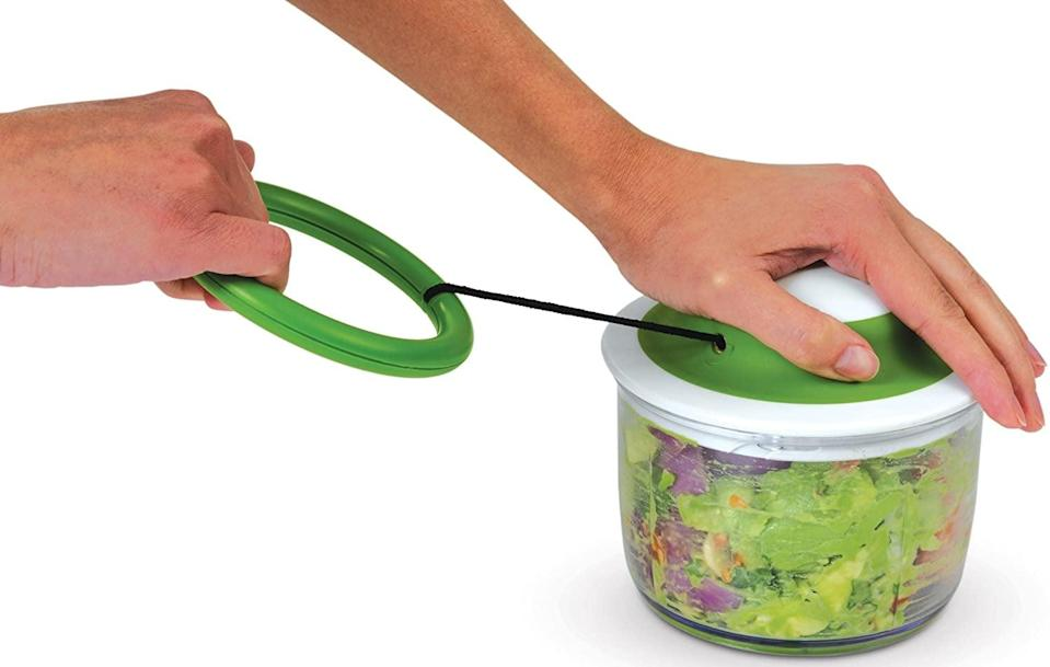 <p>For larger food pieces, opt for this <span>Chef'n VeggiChop Hand-Powered Food Chopper </span> ($21).</p>