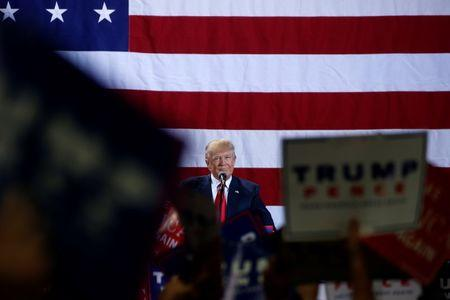 Republican presidential nominee Donald Trump appears at campaign rally in Grand Rapids