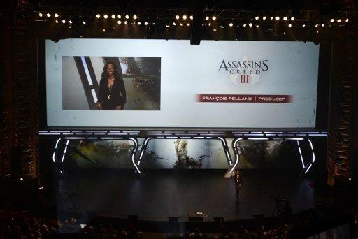 "Ubisoft producer Francois Pelland presents 'Assassin's Creed 3' during the Ubisoft's media briefing at the E3 2012 in Los Angeles, California, in June. Ubisoft is moving into the film business with an adaptation of its blockbuster title ""Assassin's Creed"" -- sidestepping the Hollywood movie machine by producing the film itself"