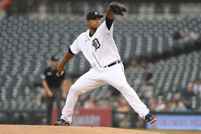 Detroit Tigers pitcher Wily Peralta winds up during the first inning of the team's baseball game against the Milwaukee Brewers in Detroit, Tuesday, Sept. 14, 2021. (AP Photo/Lon Horwedel)