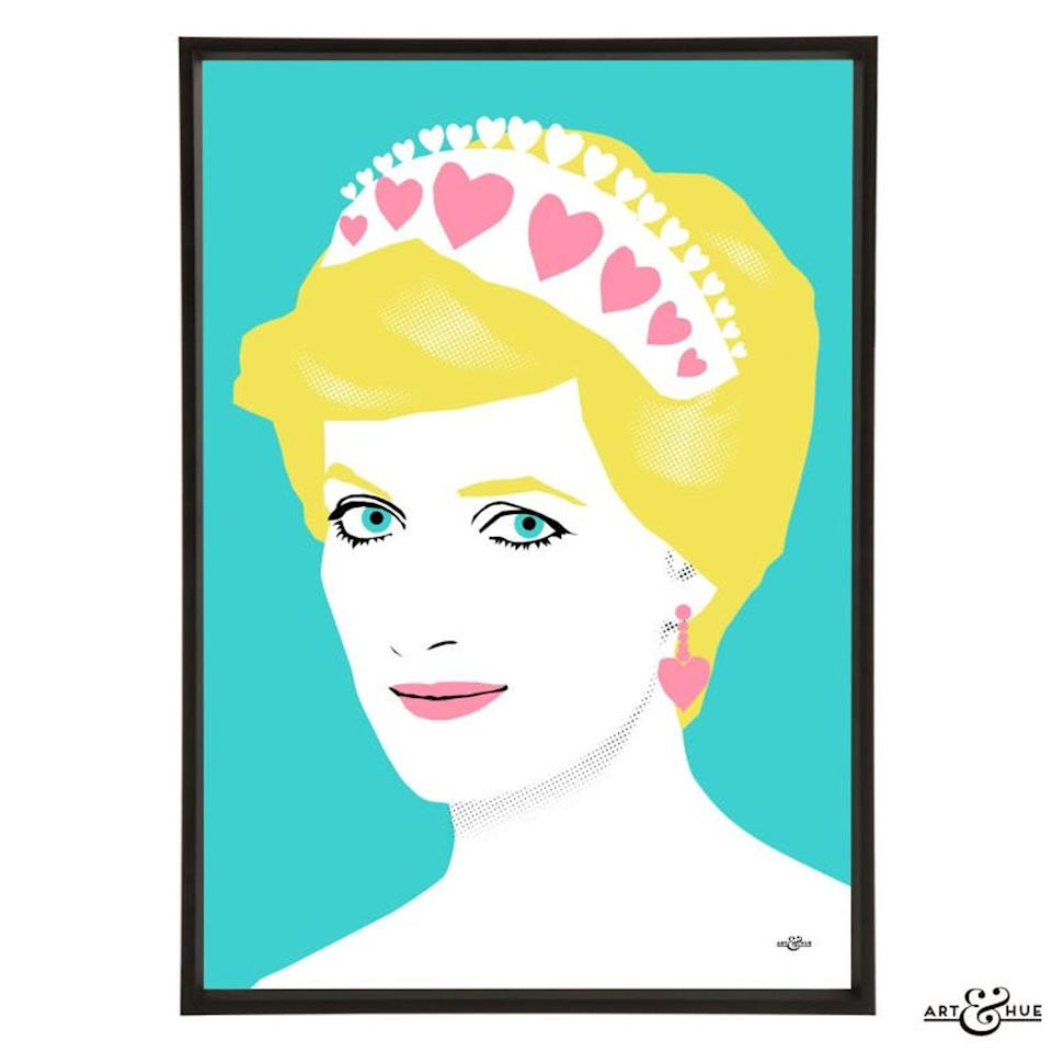 """<p>The People's Princess is a welcomed addition to just about any room in a mom's house, from her closet to her work space.</p> <p><strong>Buy It! </strong><strong>Princess Diana Pop Art, <a href=""""https://www.awin1.com/cread.php?awinmid=6220&awinaffid=272513&clickref=PEO18RegalMothersDayGiftsInspiredbyRealLifeRoyalMomspetitsRoyGal12686606202105I&p=https%3A%2F%2Fwww.etsy.com%2Flisting%2F554813945%2Fprincess-diana-art-print-pop-art"""" rel=""""sponsored noopener"""" target=""""_blank"""" data-ylk=""""slk:$26+"""" class=""""link rapid-noclick-resp"""">$26+</a></strong></p>"""