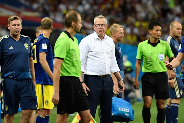 Sweden's coach Janne Andersson reacts during the Russia 2018 World Cup Group F football match between Germany and Sweden at the Fisht Stadium in Sochi on June 23, 2018. (Getty Images)