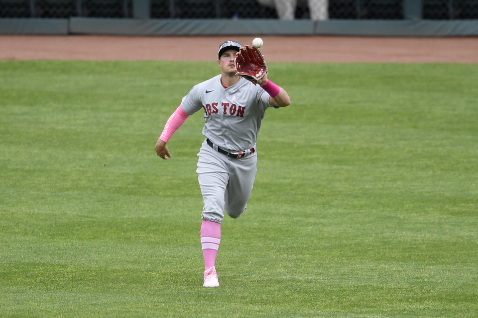 Boston Red Sox right fielder Hunter Renfroe makes a catch on a line drive by Baltimore Orioles' Cedric Mullins, not seen, for the out during the first inning of a baseball game, Sunday, May 9, 2021, in Baltimore. (AP Photo/Nick Wass)