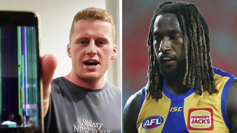 Reilly O'Brien (pictured left) holding up his broken phone and Nic Naitanui (pictured right) during a game.