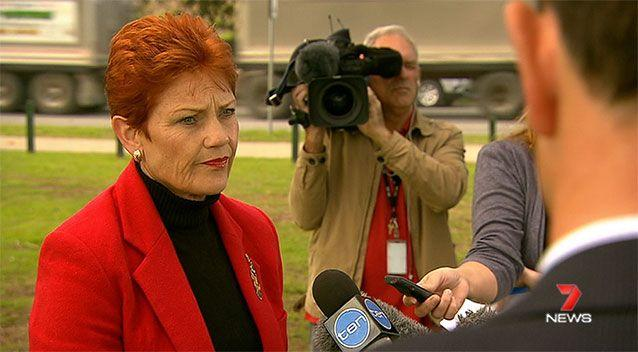 Pauline Hanson at a press conference in Brisbane on Monday. Source: 7News.