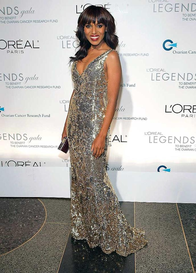 "Kerry Washington sparkled in a silver floor-length gown. The actress is one of L'Oreal Paris' spokespersons. Jemal Countess/<a href=""http://www.wireimage.com"" target=""new"">WireImage.com</a> - November 10, 2008"