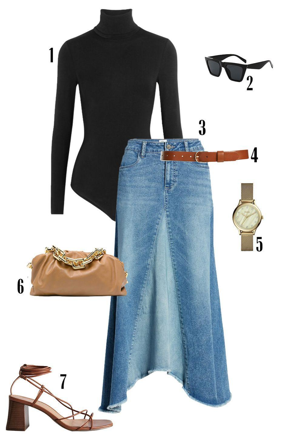 """<p>Swap your everyday denim for a denim skirt. This midi denim skirt gives your look a distinct '70s feel. Keep it relevant and fresh with the accessories and sport strappy sandals, an <em>it</em> bag, and your favorite sunnies for a modern feel. </p><p>Shop the pieces:<em> <em><a href=""""https://www.net-a-porter.com/en-us/shop/product/wolford/colorado-thong-bodysuit/618045"""" rel=""""nofollow noopener"""" target=""""_blank"""" data-ylk=""""slk:Wolford Colorado Bodysuit"""" class=""""link rapid-noclick-resp"""">Wolford Colorado Bodysuit</a></em><em>,</em> $250; </em><em><a href=""""https://www.amazon.com/dp/B07Q9Z15LM/ref=redir_mobile_desktop"""" rel=""""nofollow noopener"""" target=""""_blank"""" data-ylk=""""slk:Retro Sunglasses"""" class=""""link rapid-noclick-resp"""">Retro Sunglasses</a></em><em>,</em> $12; <em><a href=""""https://www.nordstrom.com/s/wash-lab-pieced-denim-midi-skirt/5392340"""" rel=""""nofollow noopener"""" target=""""_blank"""" data-ylk=""""slk:Wash Lab Denim Skirt"""" class=""""link rapid-noclick-resp"""">Wash Lab Denim Skirt</a></em>, $128; <em><a href=""""https://www.nordstrom.com/s/halogen-tailored-trouser-leather-belt-regular-plus-size/3481648?origin=category-personalizedsort&breadcrumb=Home/Women/Accessories/Belts&fashioncolor=Brown&color=cognac"""" rel=""""nofollow noopener"""" target=""""_blank"""" data-ylk=""""slk:Halogen Leather Belt"""" class=""""link rapid-noclick-resp"""">Halogen Leather Belt</a></em>, $39; <em><a href=""""https://www.fossil.com/en-us/products/laney-three-hand-gold-tone-stainless-steel-watch/BQ3391.html"""" rel=""""nofollow noopener"""" target=""""_blank"""" data-ylk=""""slk:Fossil Watch"""" class=""""link rapid-noclick-resp"""">Fossil Watch</a></em>, $56; <em><a href=""""https://www.farfetch.com/shopping/women/bottega-veneta-the-chain-pouch-shoulder-bag-item-16109156.aspx"""" rel=""""nofollow noopener"""" target=""""_blank"""" data-ylk=""""slk:Bottega Veneta Pouch Bag"""" class=""""link rapid-noclick-resp"""">Bottega Veneta Pouch Bag</a></em>, $3,690, <em><a href=""""https://www.stories.com/en_usd/shoes/heeled-sandals/product.leather-strappy-lace-up-heeled-sandals-orange.0731706003.html"""" re"""