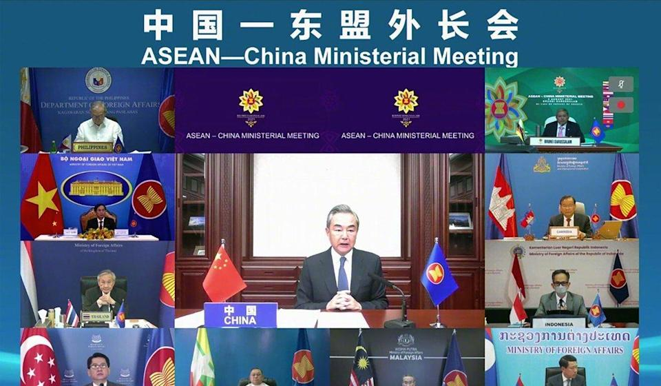 Chinese Foreign Minister Wang Yi addresses his Asean counterparts via video link. Photo: Handout