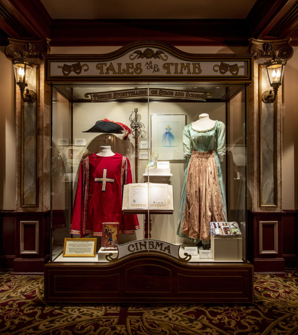 """Tales as Old as Time: French Storytelling on Stage and Screen"" debuts Jan. 17, 2020, along with ""Beauty and the Beast Sing-Along"" at the Palais du Cinema in the France pavilion at Epcot at Walt Disney World Resort in Lake Buena Vista, Fla. The all-new exhibit gives guests the opportunity to explore six gallery cases featuring a collection of costumes, music, artwork and more, all dedicated to the adaptation of French literature in cinema, theatre, ballet and opera. (Disney/David Roark)"