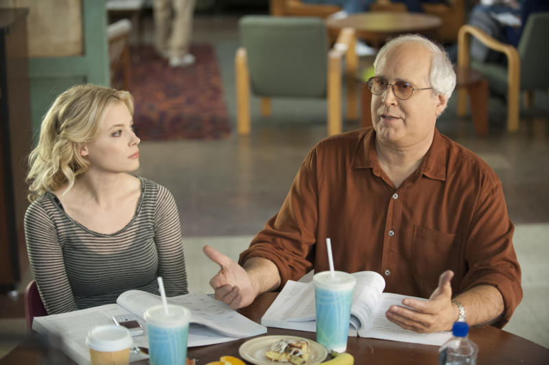 """Gillian Jacobs and Chevy Chase on NBC's """"Community."""""""