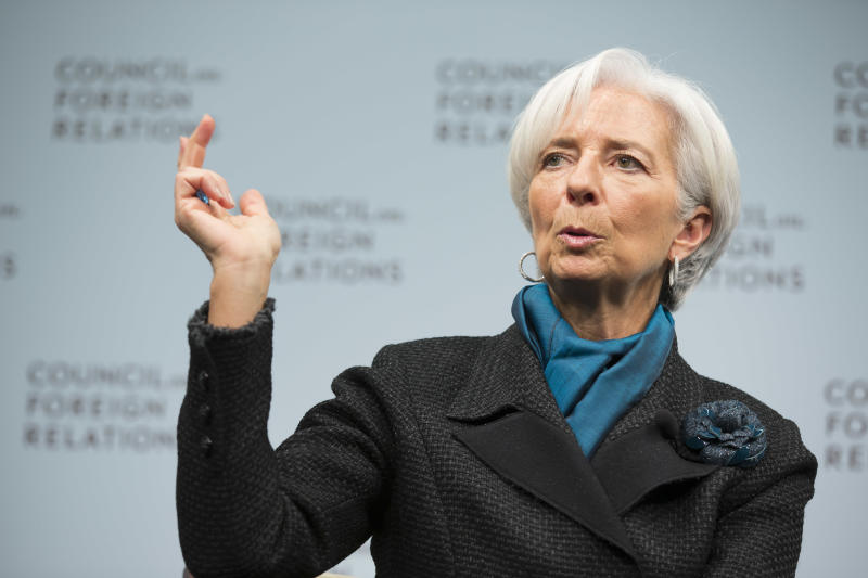 This IMF handout photo shows International Monetary Fund Managing Director Christine Lagarde as she speaks at the Council on Foreign Relations January 15, 2014 in Washington, DC (AFP Photo/Stephen Jaffe)
