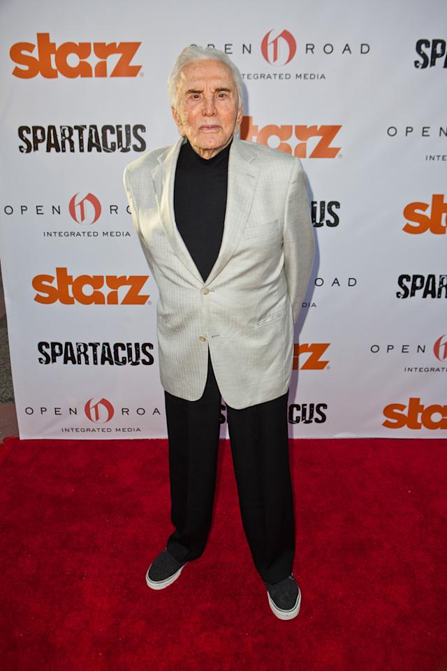 """Kirk Douglas arrives at Starz """"Spartacus"""" Then and Now at Leonard Goldenson Theatre on May 31, 2012 in Hollywood, California."""