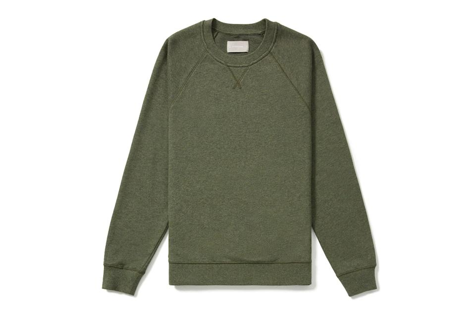 "$45, Everlane. <a href=""https://www.everlane.com/products/mens-ltwt-french-terry-crew-heather-green?collection=mens-sale"" rel=""nofollow noopener"" target=""_blank"" data-ylk=""slk:Get it now!"" class=""link rapid-noclick-resp"">Get it now!</a>"