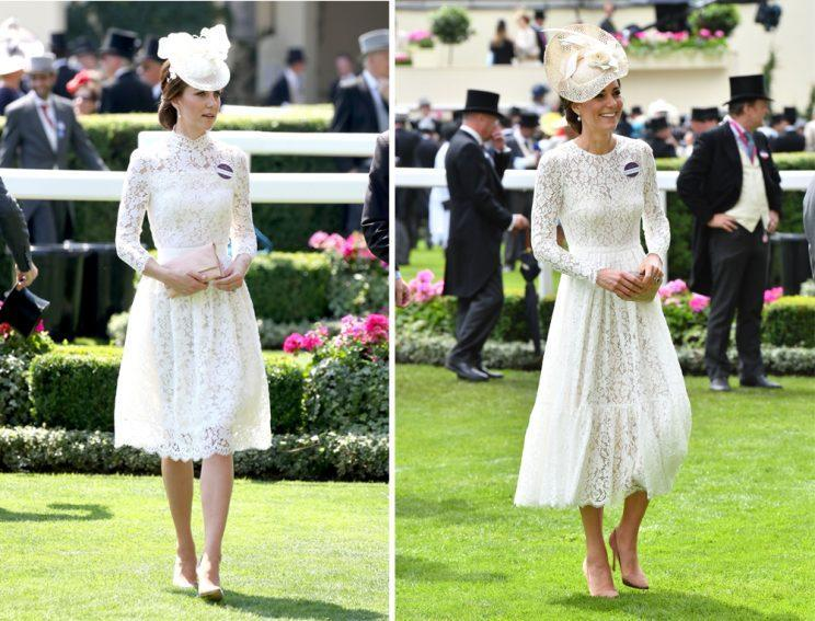 <i>Kate's 2017 Royal Ascot look was eerily similar to her 2016 outfit [Photo: Getty]</i>