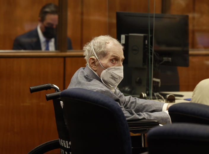 Robert Durst looks at jurors as he appears in a courtroom in Inglewood, Calif. on Wednesday, Sept. 8, 2021, with his attorneys for closing arguments presented by the prosecution in the murder trial of the New York real estate scion who is charged with the longtime friend Susan Berman's killing in Benedict Canyon just before Christmas Eve 2000. (Al Seib/Los Angeles Times via AP, Pool)