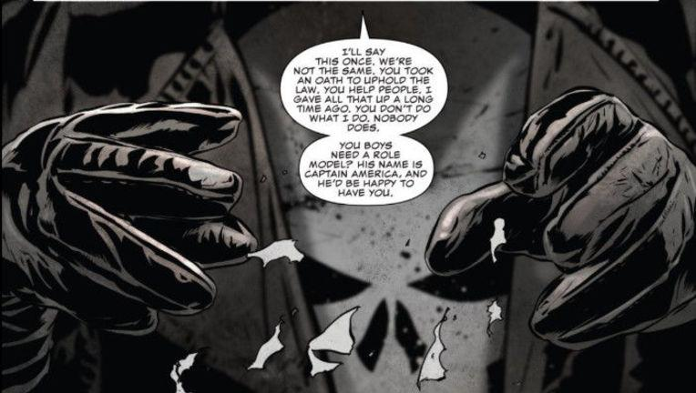 An image from 'The Punisher' #13 where Frank Castle has very specific words for police officers choosing to wear his image (Photo: Marvel Comics)