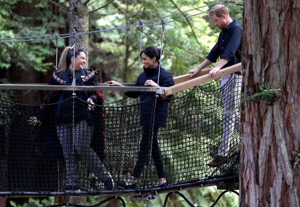 Harry and Meghan, pictured during their visit to Rotorua, New Zealand, enquired about moving to New Zealand (Kirsty Wigglesworth/PA) (PA Archive)