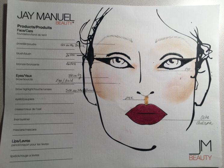 One of the Jay Manuel Beauty face charts for