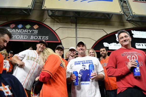 The Bud Light guys poses for a photo during Game 6 of the World Series on Oct. 29, 2019 in Houston, Texas. (Loren Elliott/MLB Photos via Getty Images)