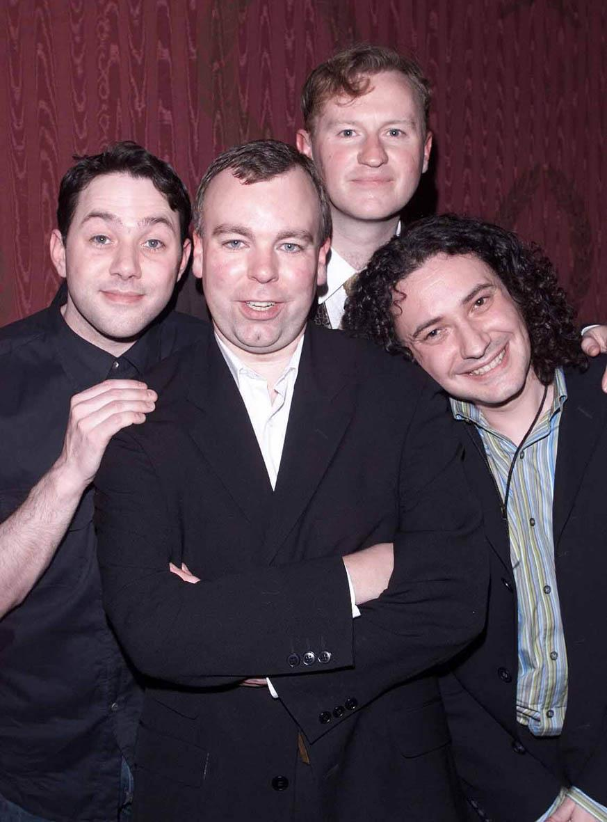 """Reece Shearsmith, Steve Pemberton, Mark Gatiss and Jeremy Dyson arrive at the opening night of """"The League of Gentlemen"""" held at the Theatre Royal Dury Lane on February 13, 2001 in London. (Photo by Dave Hogan/Getty Images)"""