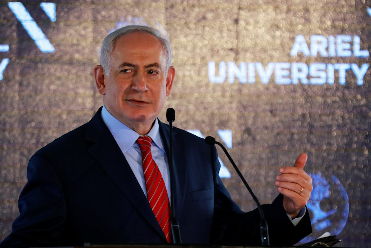 Israeli Prime Minister Benjamin Netanyahu speaks at a cornerstone-laying ceremony for the Miriam and Sheldon Adelson Health and Medical Sciences School building, at Ariel University, in the Israeli settlement of Ariel in the occupied West Bank June 28, 2017. REUTERS/Amir Cohen