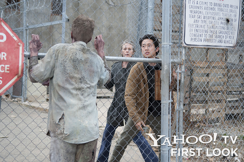 "Carol (Melissa Suzanne McBride) and Glenn (Steven Yeun) in ""The Walking Dead"" episode, ""Welcome to the Tombs."""