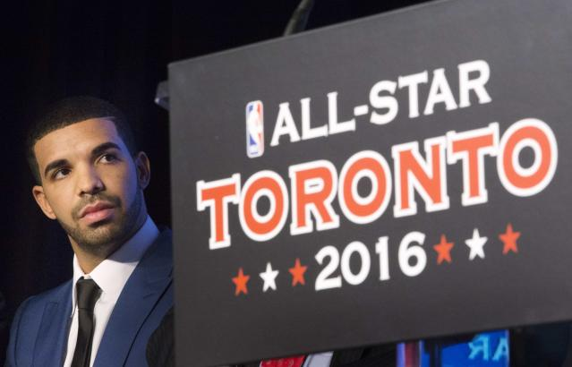 Rapper Drake looks on during an announcement that the Toronto Raptors will host the NBA All-Star game in Toronto, September 30, 2013. Toronto was selected as the host of the National Basketball Association's (NBA) 2016 All-Star Game, marking the first time the showcase event will be held outside of the United States, the league said on Monday. REUTERS/Mark Blinch (CANADA - Tags: SPORT BASKETBALL ENTERTAINMENT)