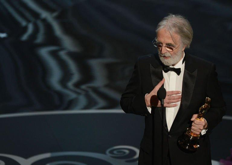 Best Foreign Language Film winner Michael Haneke accepts his award onstage at the 85th Annual Academy Awards on February 24, 2013 in Hollywood, California