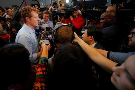 U.S. Rep. Kennedy III answers questions from reporters after announcing his candidacy for the U.S. Senate in Boston