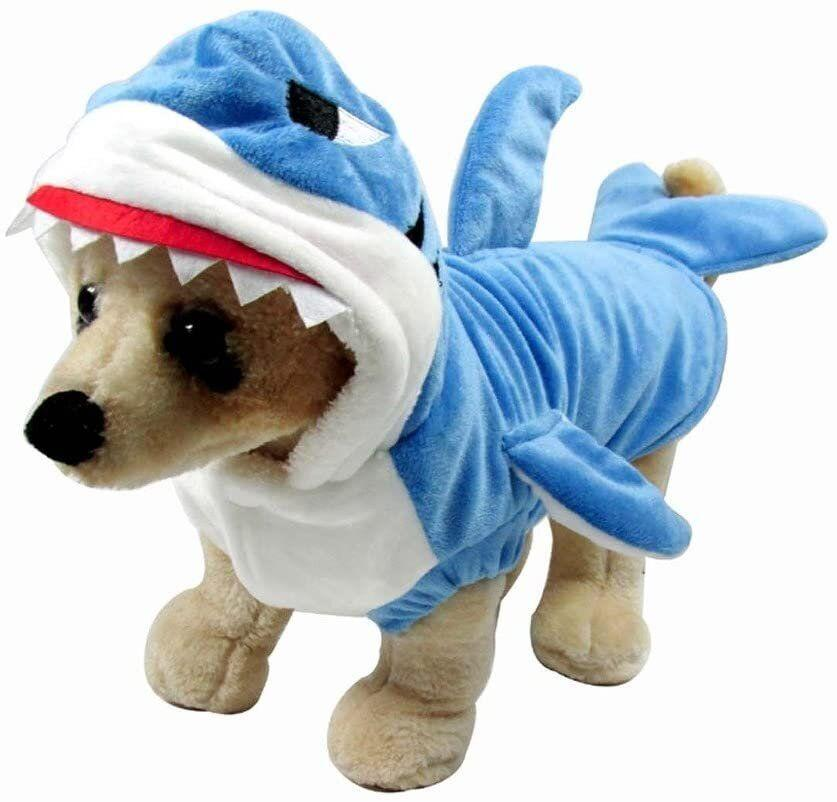 "Get this <a href=""https://amzn.to/31drWGZ"" target=""_blank"" rel=""noopener noreferrer"">Mogoko Pet Shark Costume for $15</a> at Amazon. It's available in six different sizes according to neck and chest."