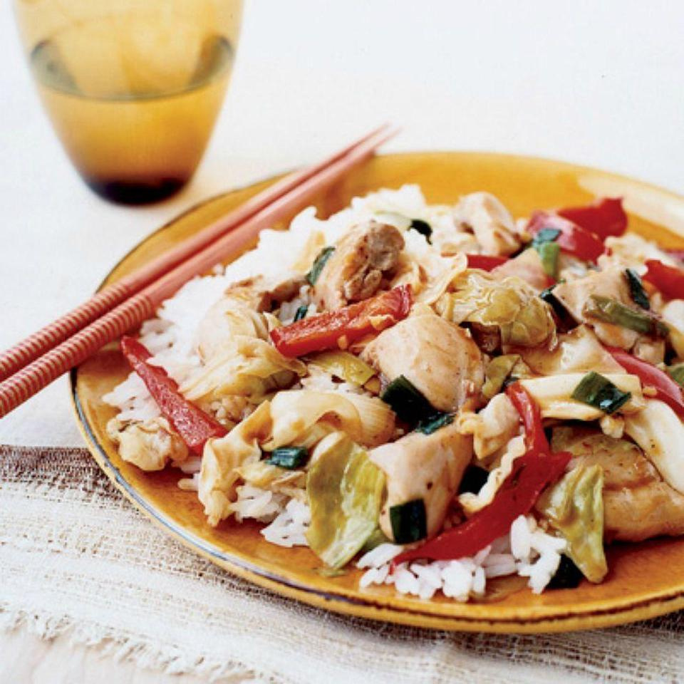 """<p>It only takes 20 minutes to make a light and healthy stir fry dinner with skinless chicken and cabbage in a ginger glaze.</p><p><em><a href=""""https://www.goodhousekeeping.com/food-recipes/a5563/chicken-cabbage-stir-fry-ghk0907/"""" rel=""""nofollow noopener"""" target=""""_blank"""" data-ylk=""""slk:Get the recipe for Chicken and Cabbage Stir-Fry »"""" class=""""link rapid-noclick-resp"""">Get the recipe for Chicken and Cabbage Stir-Fry »</a></em></p>"""