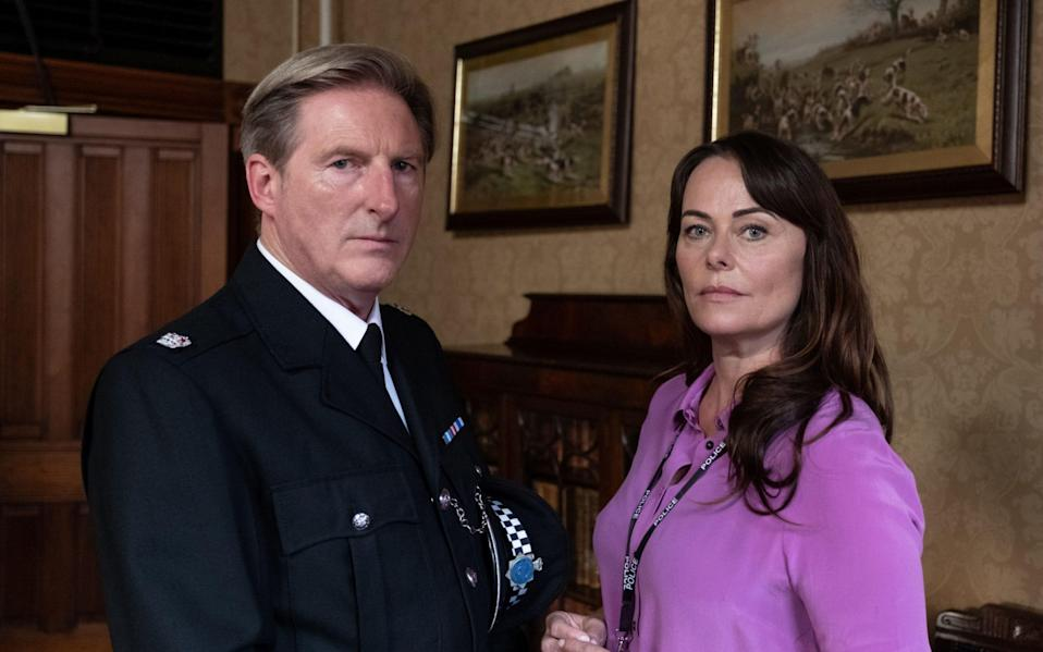 Adrian Dunbar as Ted Hastings and Polly Walker as Gill - 4