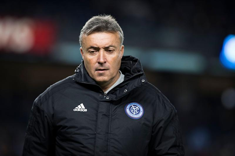 BRONX, NY - NOVEMBER 04: Domènec Torrent head coach of New York City FC during the Audi 2018 MLS Cup Playoffs Eastern Conference Semifinal Leg 1 match between New York City FC and Atlanta FC at Yankee Stadium on November 04, 2018 in the Bronx borough of New York. Atlanta United won the match with a score of 1 to 0. (Photo by Ira L. Black/Corbis via Getty Images)