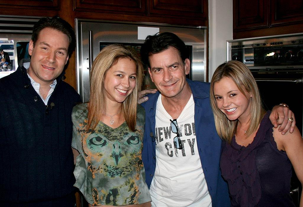 """Charlie Sheen -- who scored a over a million followers during his first 24 hours on Twitter -- introduced NBC's Jeff Rossen (and the world) to his two goddesses -- Natalie Kenly and Rachel Oberlin -- during an interview with """"Today"""" on Monday. The troubled star was seriously relishing his moment in the spotlight this week, granting sound bite-heavy interviews to pretty much any news outlet that asked. WINNING! Mike Austin/NBC"""