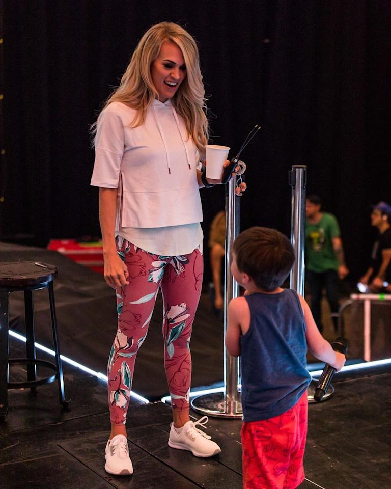 "<p>""Just another day at the office!"" the star captioned a <a href=""https://www.instagram.com/p/By8M3u1Fjdx/"">photo</a> of herself and her son Isaiah on stage during a tour stop.</p><p>""I love my job. 💗,"" she added, along with the hashtags ""#BringYourKidToWorkDay,"" ""EveryDay"" and ""Soundcheck""</p>"