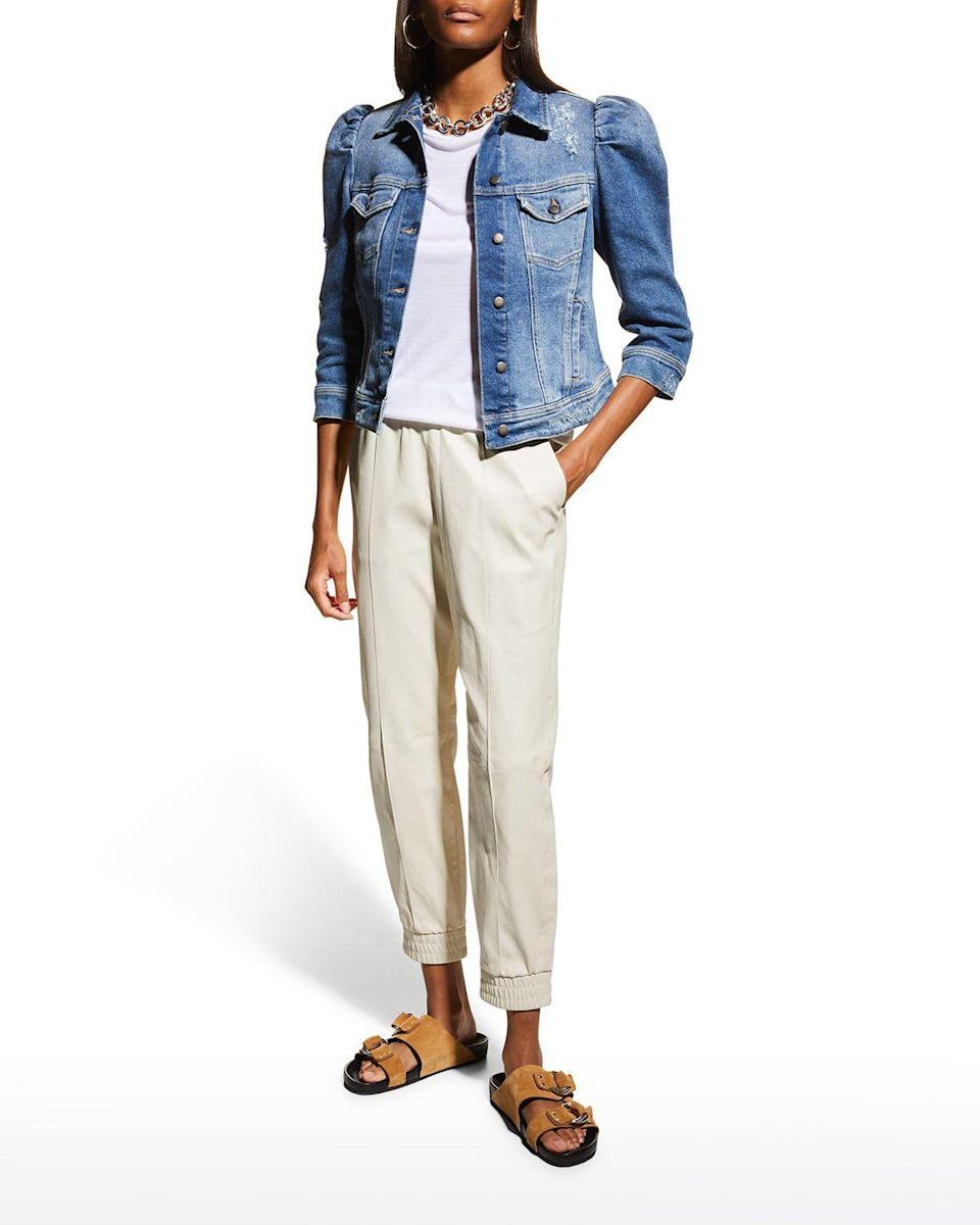 """<p><strong>Retrofete</strong></p><p>neimanmarcus.com</p><p><strong>$320.00</strong></p><p><a href=""""https://go.redirectingat.com?id=74968X1596630&url=https%3A%2F%2Fwww.neimanmarcus.com%2Fp%2Fretrofete-ada-puff-sleeve-denim-jacket-prod234050041&sref=https%3A%2F%2Fwww.prevention.com%2Fbeauty%2Fstyle%2Fg37148346%2Fbest-jean-jackets-for-women%2F"""" rel=""""nofollow noopener"""" target=""""_blank"""" data-ylk=""""slk:Shop Now"""" class=""""link rapid-noclick-resp"""">Shop Now</a></p><p>The Retrofete brand was designed for the woman who demands to be noticed. She doesn't attend the party; she IS the party. And one selfie on Instagram in this Ada jacket will leave your comment section filled with people asking """"where is this jacket from?"""" <strong>T</strong><strong>his stylish pick features puffy three-quarter sleeves and a flexible strap at the back, which you can adjust for a more fitted look.</strong></p>"""