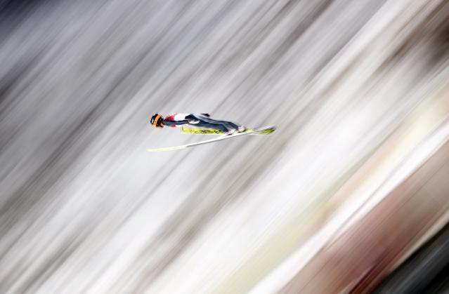Nordic Combined Events – Pyeongchang 2018 Winter Olympics – Men's Individual Gundersen Large Hill Trial round – Alpensia Ski Jumping Centre - Pyeongchang, South Korea – February 20, 2018 - Akito Watabe of Japan competes. REUTERS/Dominic Ebenbichler
