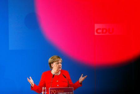 FILE PHOTO: German Chancellor Angela Merkel speaks during the celebrations of the 70th anniversary of the Women's Union in Frankfurt