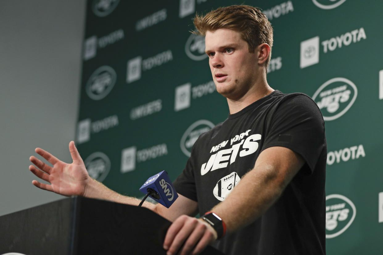 New York Jets quarterback Sam Darnold responds to questions during a news conference at the team's NFL football training facility Wednesday, Aug. 21, 2019, in Florham Park, N.J. (AP Photo/Frank Franklin II)