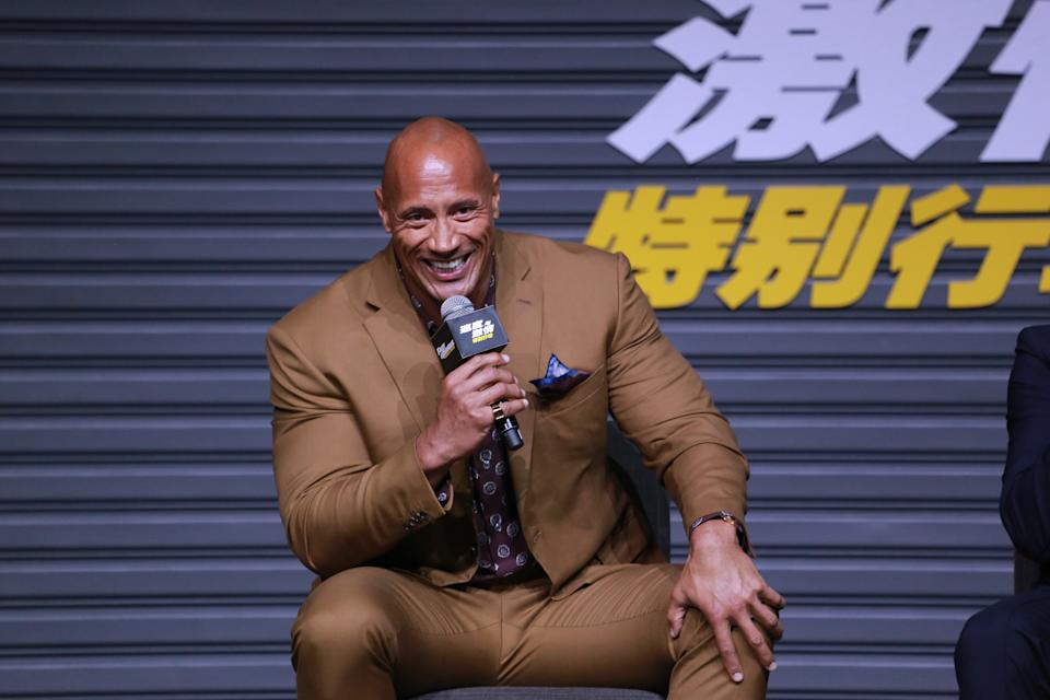 BEIJING, CHINA - AUGUST 05: Actor Dwayne Johnson attends the 'Fast & Furious: Hobbs & Shaw' press conference on August 5, 2019 in Beijing, China. (Photo by VCG/Visual China Group via Getty Images)