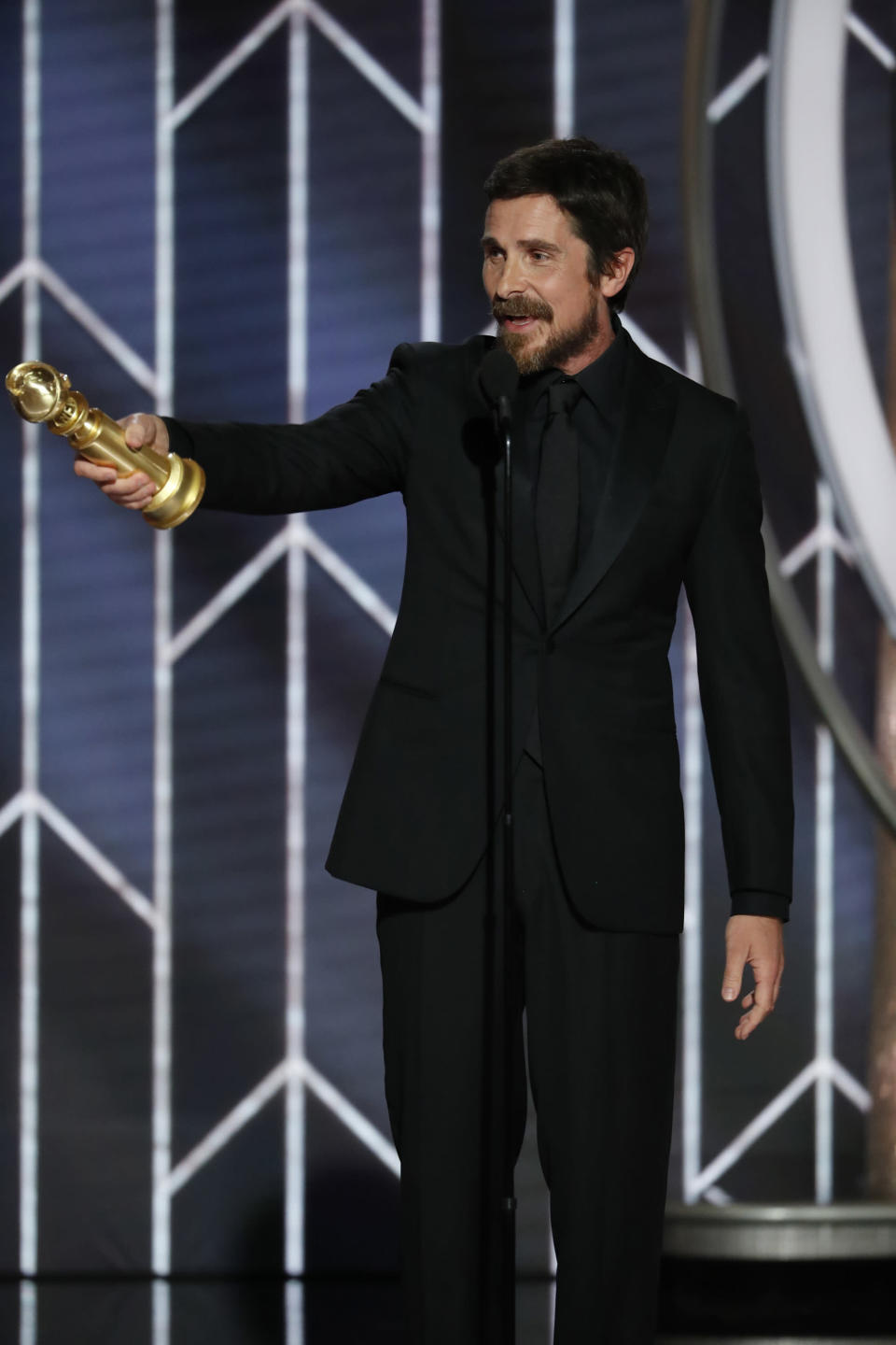 """Jan 6, 2019; Beverly Hills, CA, USA; Christian Bale, Best Actor – Motion Picture, Musical or Comedy, """"Vice"""" during the 76th Golden Globe Awards at the Beverly Hilton. Mandatory Credit: Paul Drinkwater/NBC via USA TODAY NETWORK/Sipa USA"""