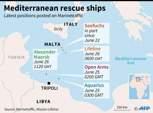The latest positions of five commercial or humanitarian vessels that have rescued migrants in the Mediterranean Sea