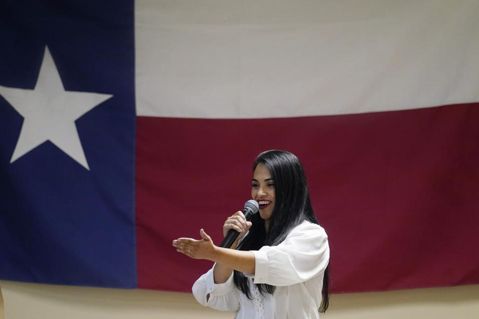 In this Wednesday, Sept. 22, 2021, photo Republican congressional candidate Mayra Flores speaks at a Cameron County Conservatives event in Brownsville, Texas. Flores argues that Democrats are forcing Texans choose between their energy sector jobs and curbing climate change. (AP Photo/Eric Gay)