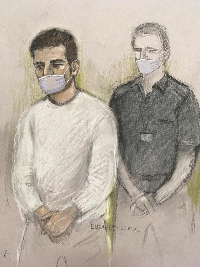 Court artist sketch of Khairi Saadallah appearing via video-link at Westminster Magistrates' Court