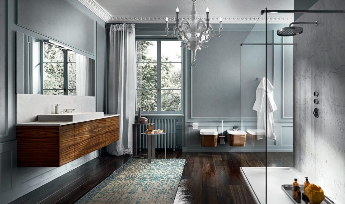 """<p>Don't go thinking that boiserie is only for living rooms, as we think it is a perfect choice for<a rel=""""nofollow"""" href=""""http://www.homify.co.uk/rooms/bathroom"""">bathrooms</a> that need a little extra oomph! Simple wall framing looks so traditional and special, especially when finished with a pretty pastel paint colour!</p>  Credits: homify / Edonè"""