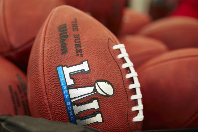 Official balls for the NFL Super Bowl LII football game are seen at the Wilson Sporting Goods Co. in Ada, Ohio. The New England Patriots will play the Philadelphia Eagles in the Super Bowl on Feb. 4, in Minneapolis, MN. (AP)